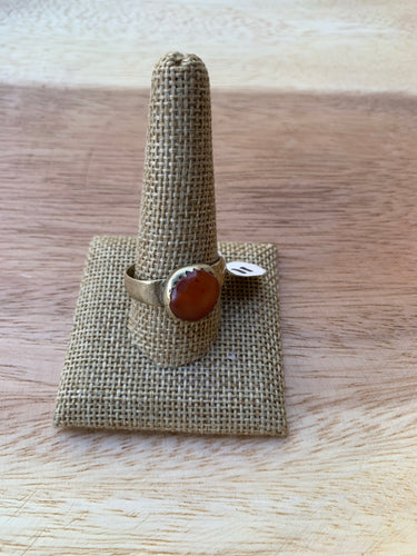 Afghani Amber and Sterling Silver Ring- size 11