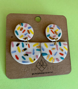 Crown & Heart Classic Sprinkle Statement Earrings