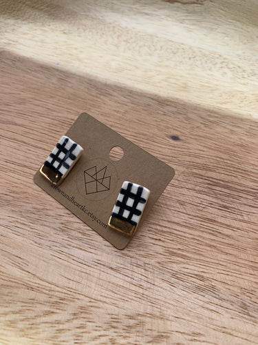 Crown & Heart Gingham Studs