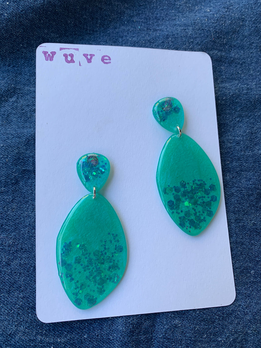 Wuve Handmade Abstract Glitter Drop Earrings