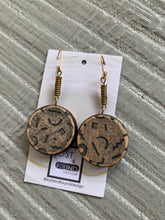 Load image into Gallery viewer, Lost & Found Design Faceted Wood Circle Drop Earrings