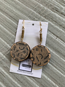 Lost & Found Design Faceted Wood Circle Drop Earrings