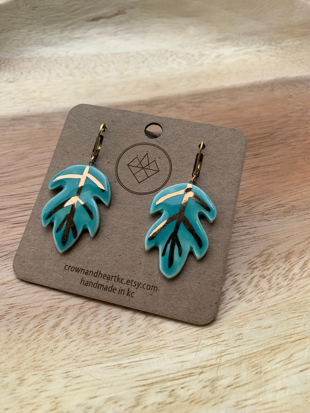 Crown & Heart Palm Leaf Earrings