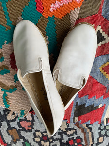 Nidalu Handmade Leather Shoes- Ecru Slipper