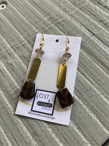 Lost & Found Design Sm Herkimer Quartz and Walnut Earrings