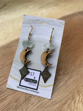 Load image into Gallery viewer, Lost & Found Design Wood and Stone Earrings