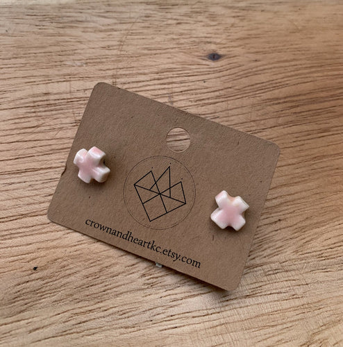 Crown & Heart Porcelain Cross Studs