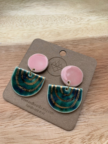 Crown & Heart Pink/Green Statement Earrings
