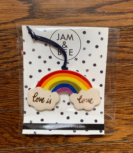 Jam and Bee Ceramics- Rainbow 'Love is Love' Ornaments
