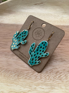 Crown & Heart Cactus Earrings