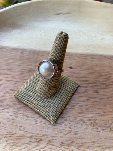 Blister Pearl and Sterling Silver Ring- size 8