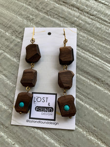 Lost & Found Design Walnut and Turquoise Faceted Triple Drop Earrings