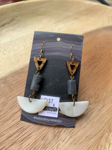 Lost & Found Design Wood and Stone Earrings