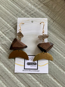 Lost & Found Design Lg Herkimer Quartz and Walnut Earrings