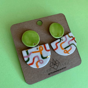 Crown & Heart Lime Squiggle Statement Earrings