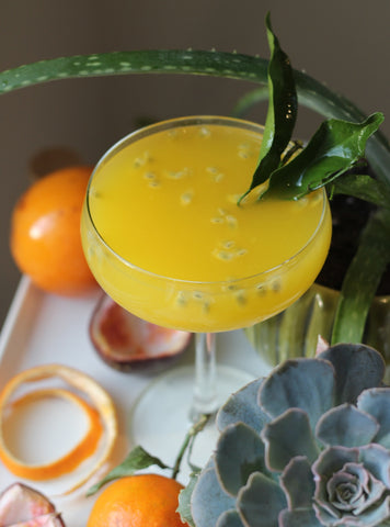 Passion Fruit Mimosa with Silver Swallow Luxury Kombucha