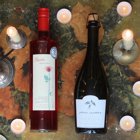 Rosée Honey Mead by Intermiel and Silver Swallow Luxury Kombucha