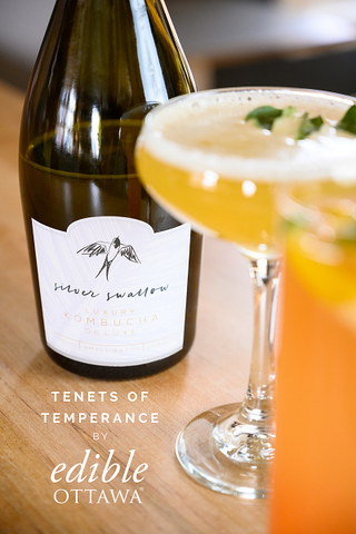 """Bottle of Silver Swallow Kombucha with two non-alcoholic cocktails and the text """"Tenets of Temperance by Edible Ottawa"""""""