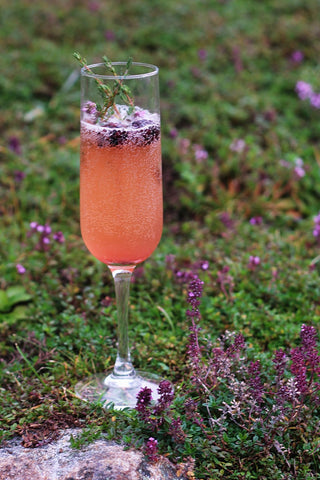 Blackberry and thyme non-alcoholic cocktail with Silver Swallow Luxury Kombucha