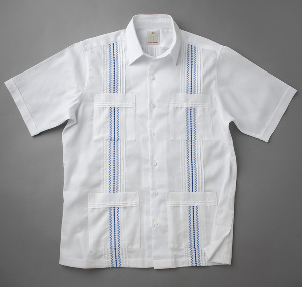 Front of pique shirt with embroidery and 4 pockets
