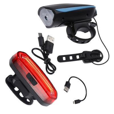 Bike Light with Bell Rechargeable Tail
