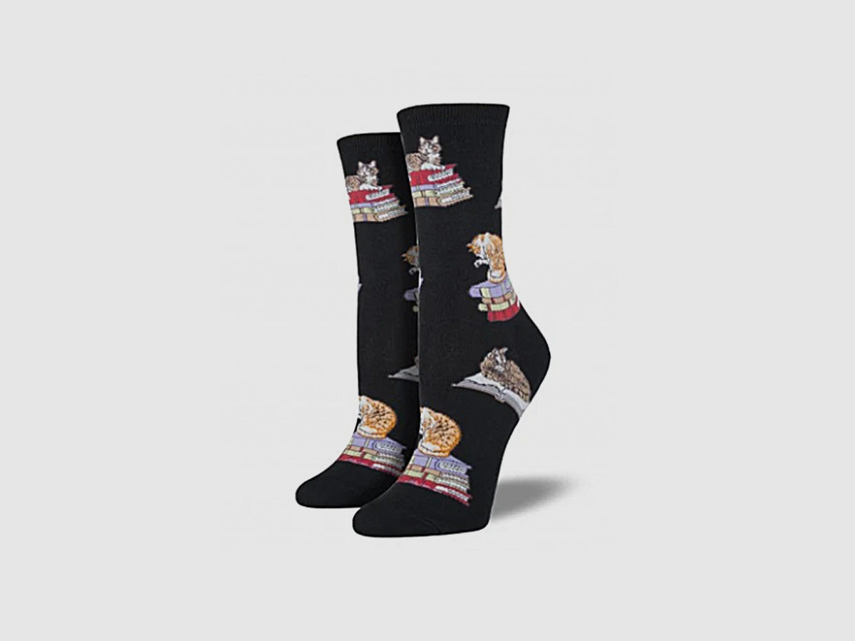 Ladies Cats on Books Socks