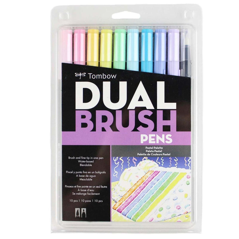 Dual Brush Pen Art Markers - Pastel 10 pack - Tombow