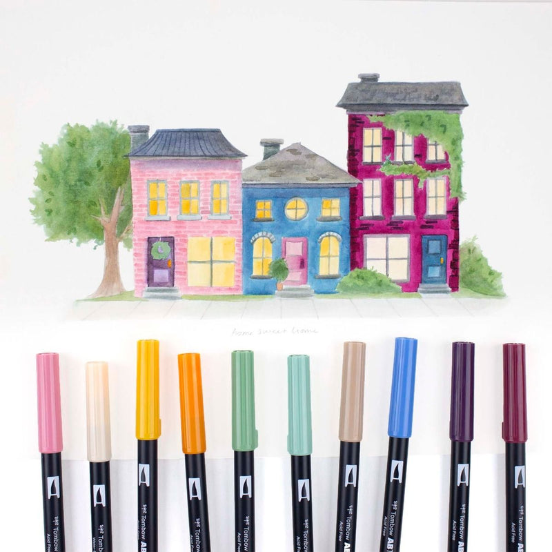Dual Brush Pen Art Markers - Cottage 10 Pack - Tombow
