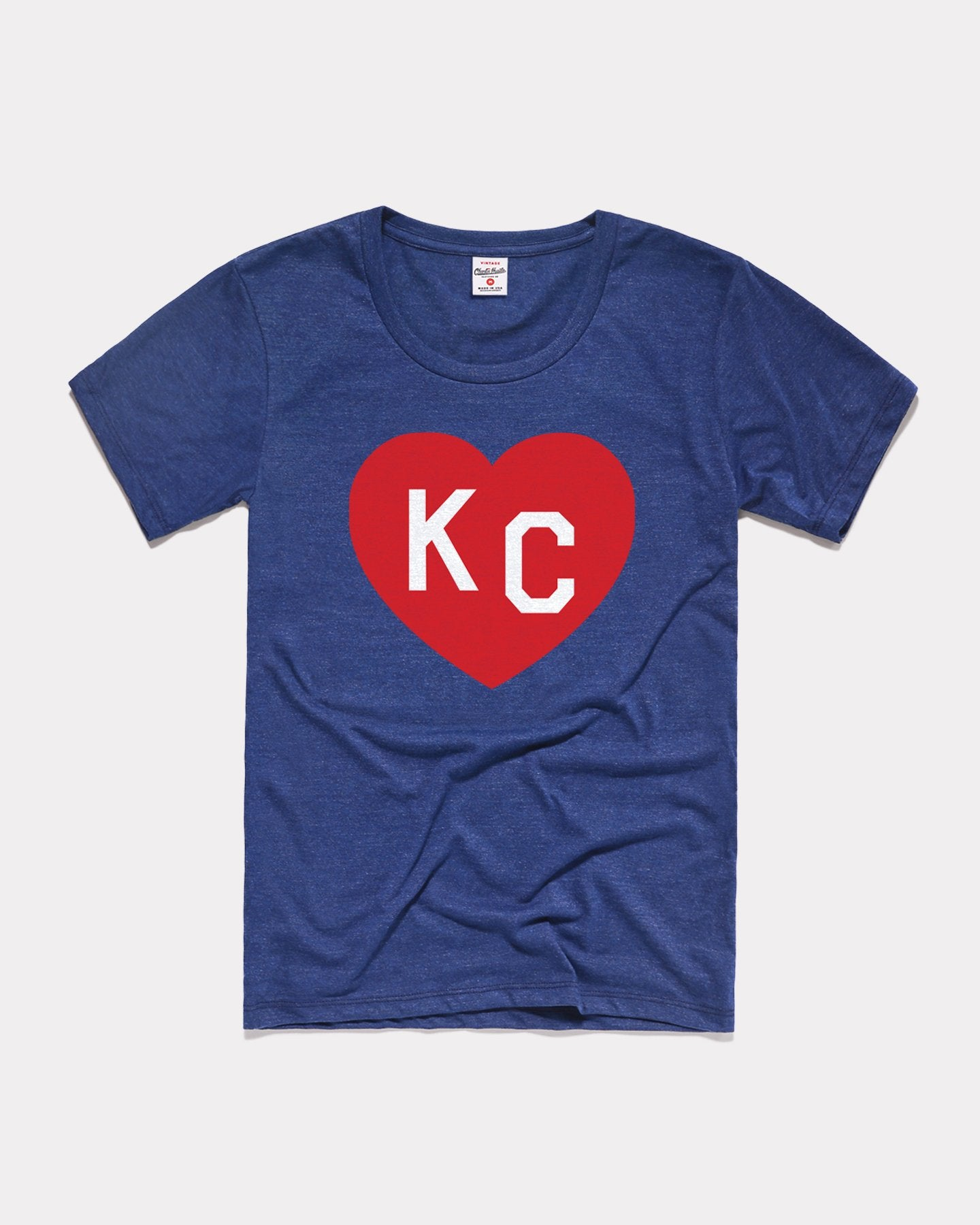 Women's Navy KC Heart Vintage T-Shirt