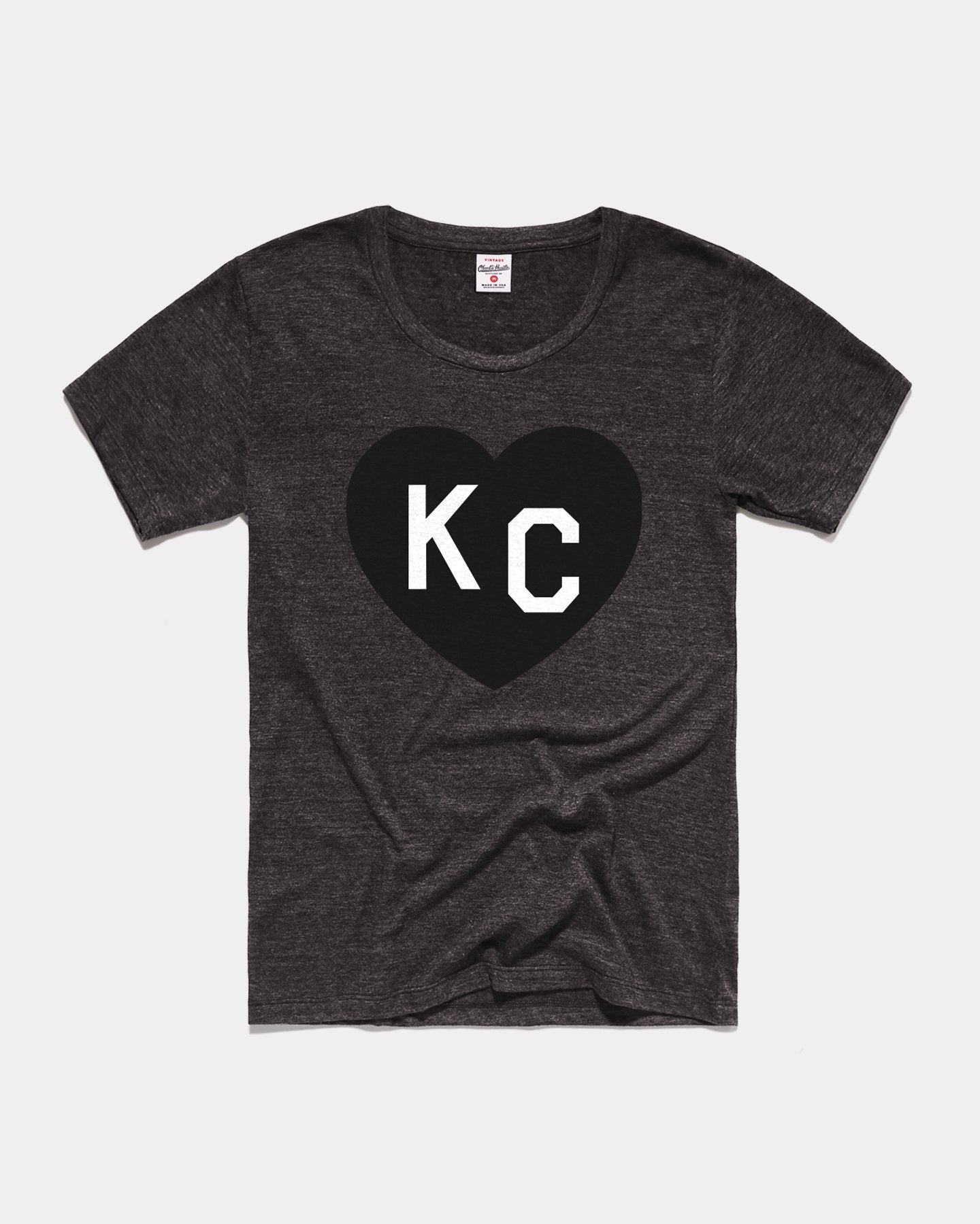 Black KC Heart Vintage Women's T-Shirt