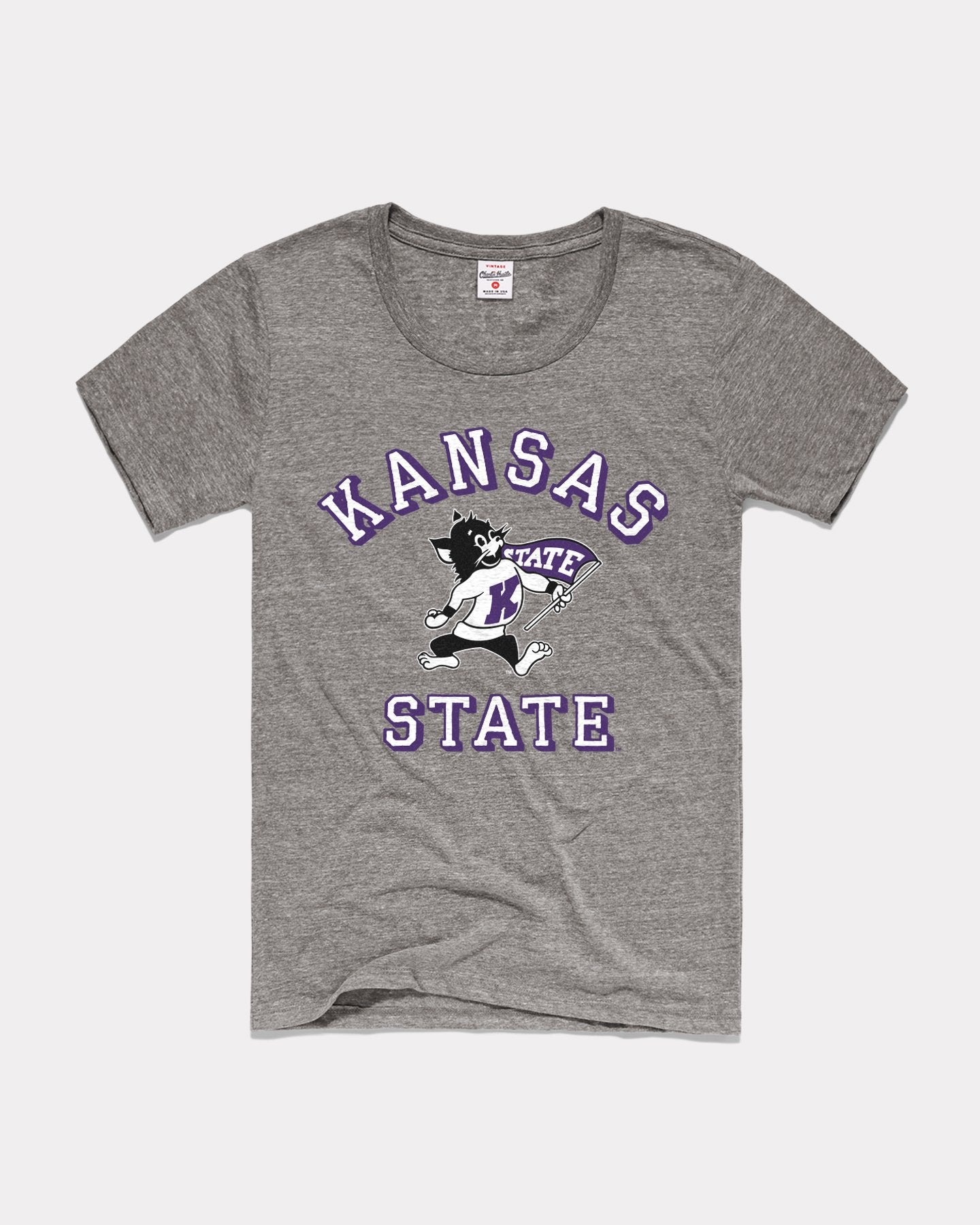 Grey K-State Wildcats Heritage Arch Vintage Women's T-Shirt