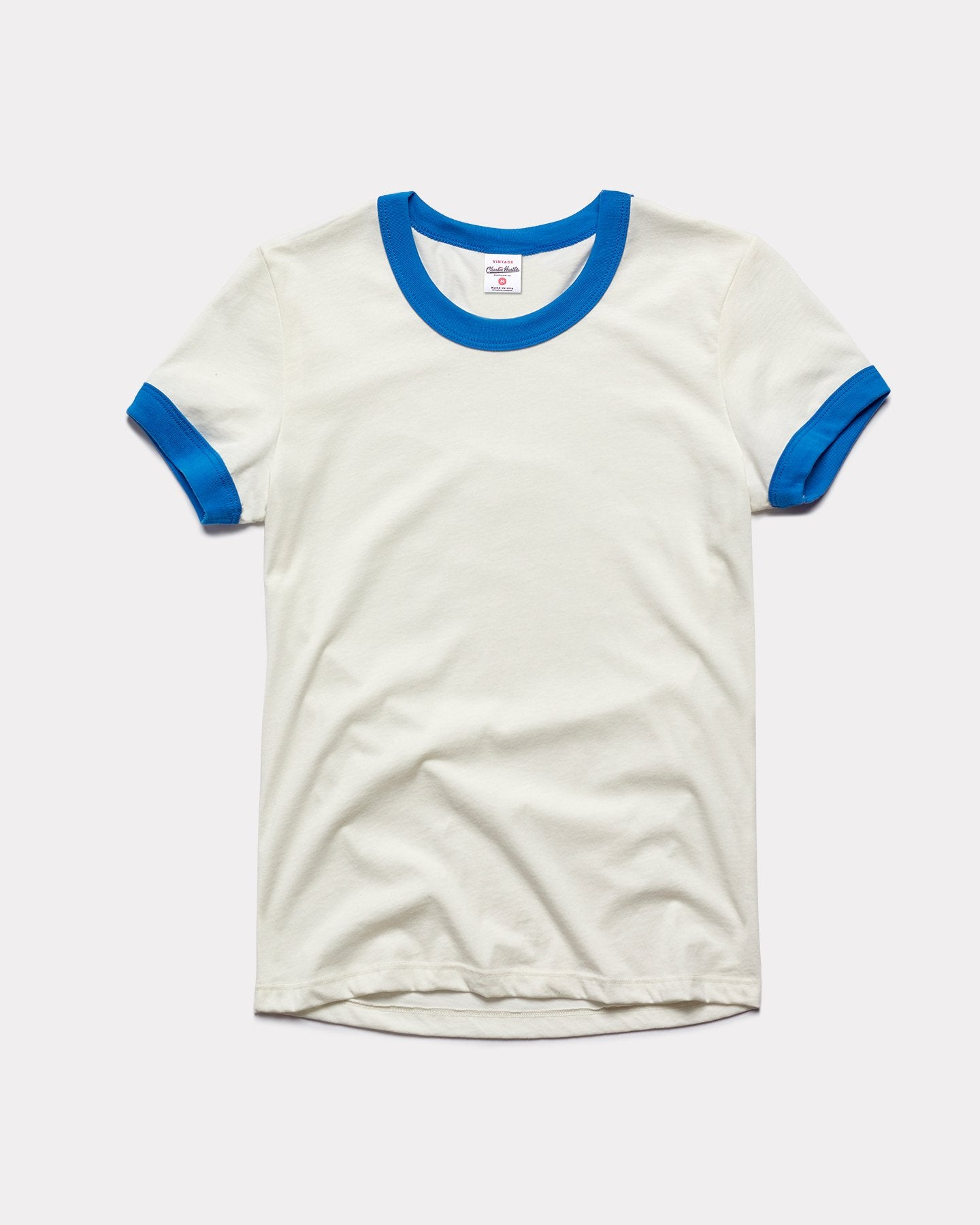 Women's White & Blue Essentials Collection Vintage Ringer T-Shirt