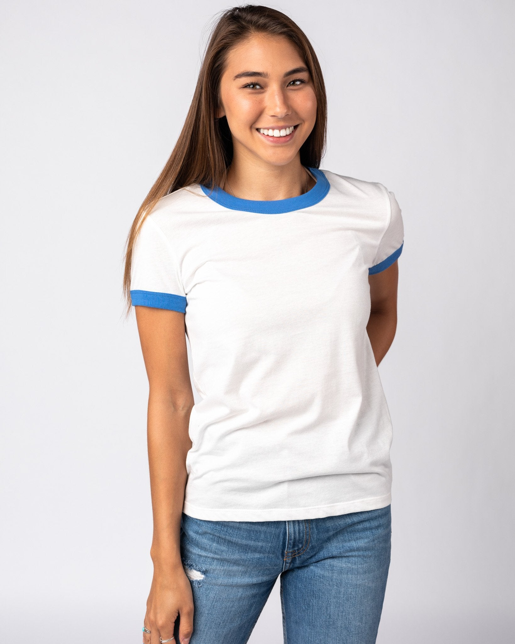 Women's White & Blue Essentials Collection Vintage Ringer T-Shirt Front