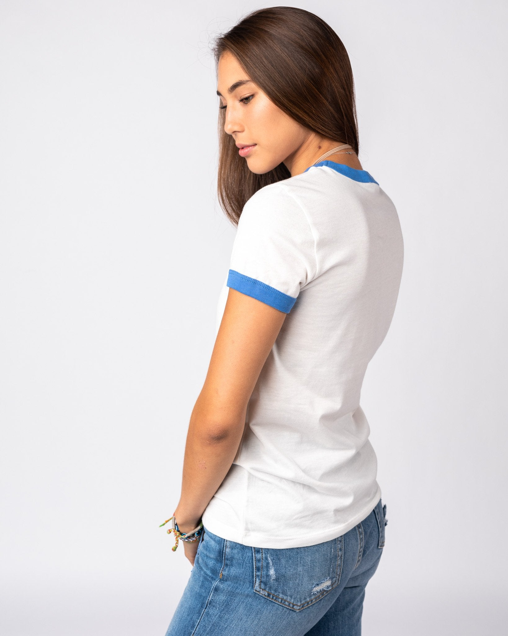 Women's White & Blue Essentials Collection Vintage Ringer T-Shirt Side