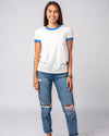 Women's White & Blue Essentials Collection Vintage Ringer T-Shirt Wide