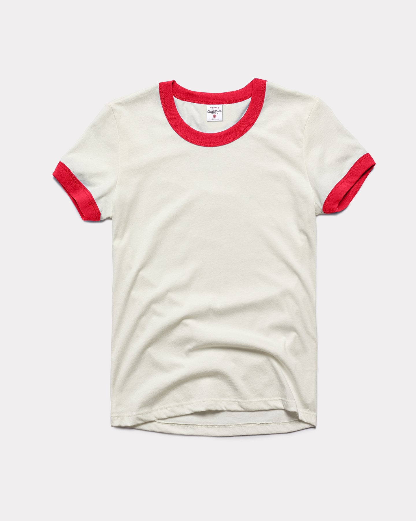 Women's White & Red Essentials Collection Vintage Ringer T-Shirt