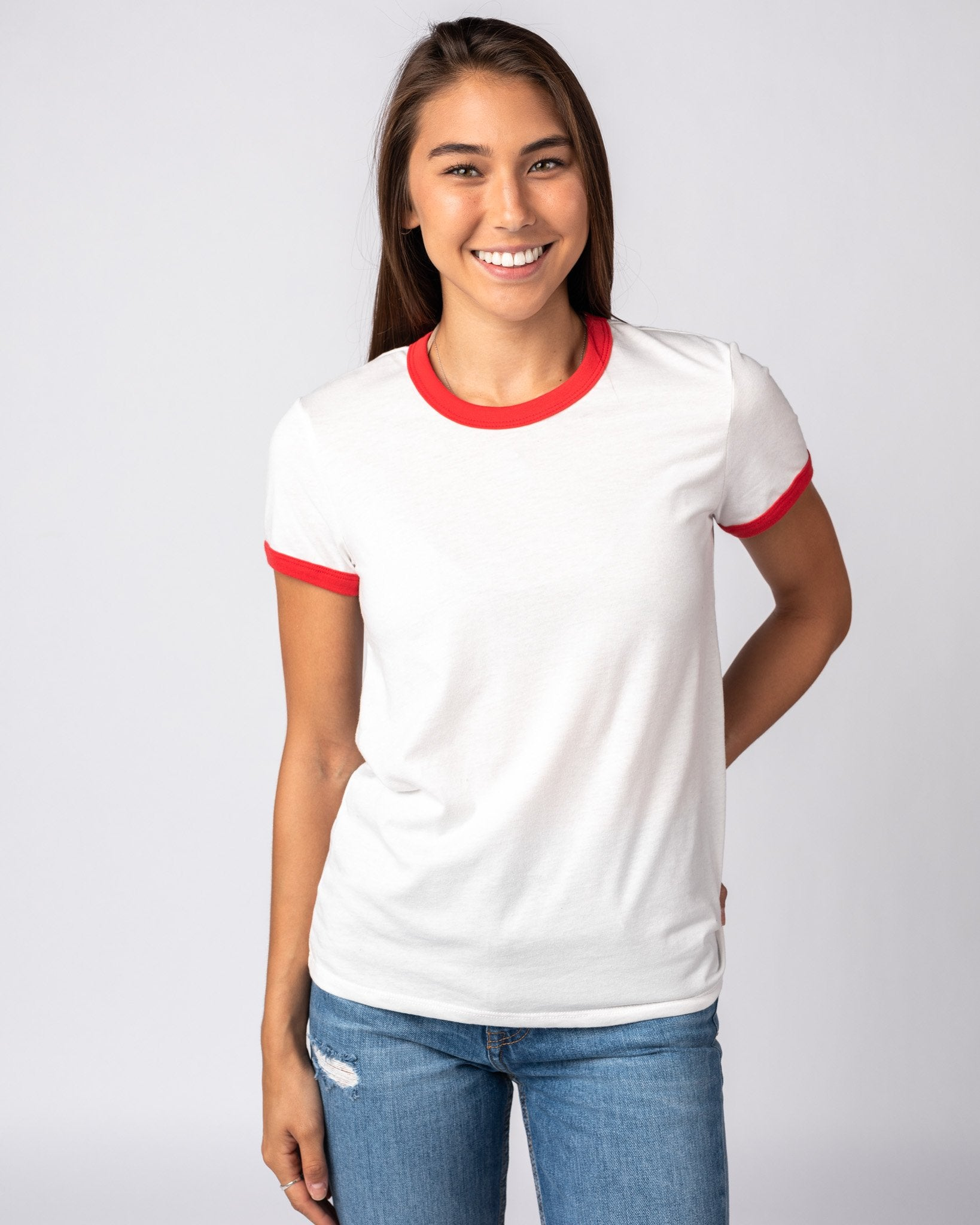 Women's White & Red Essentials Collection Vintage Ringer T-Shirt Front