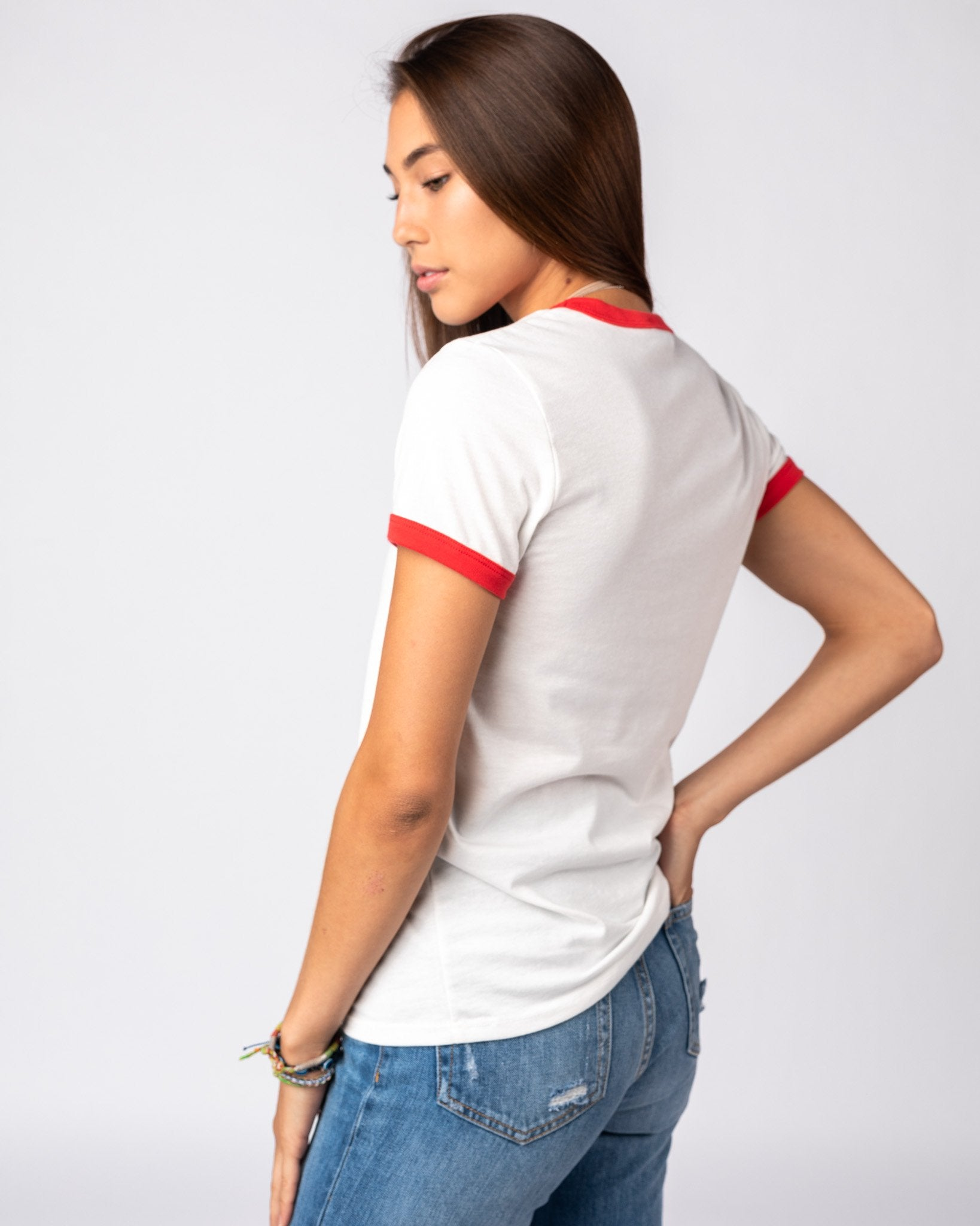 Women's White & Red Essentials Collection Vintage Ringer T-Shirt Side
