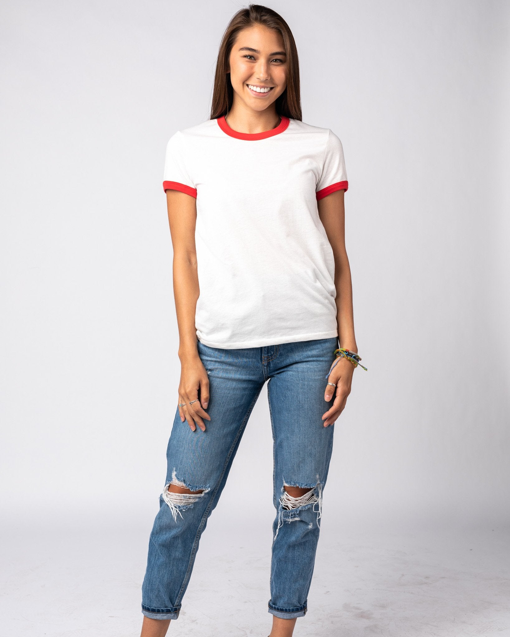 Women's White & Red Essentials Collection Vintage Ringer T-Shirt Wide