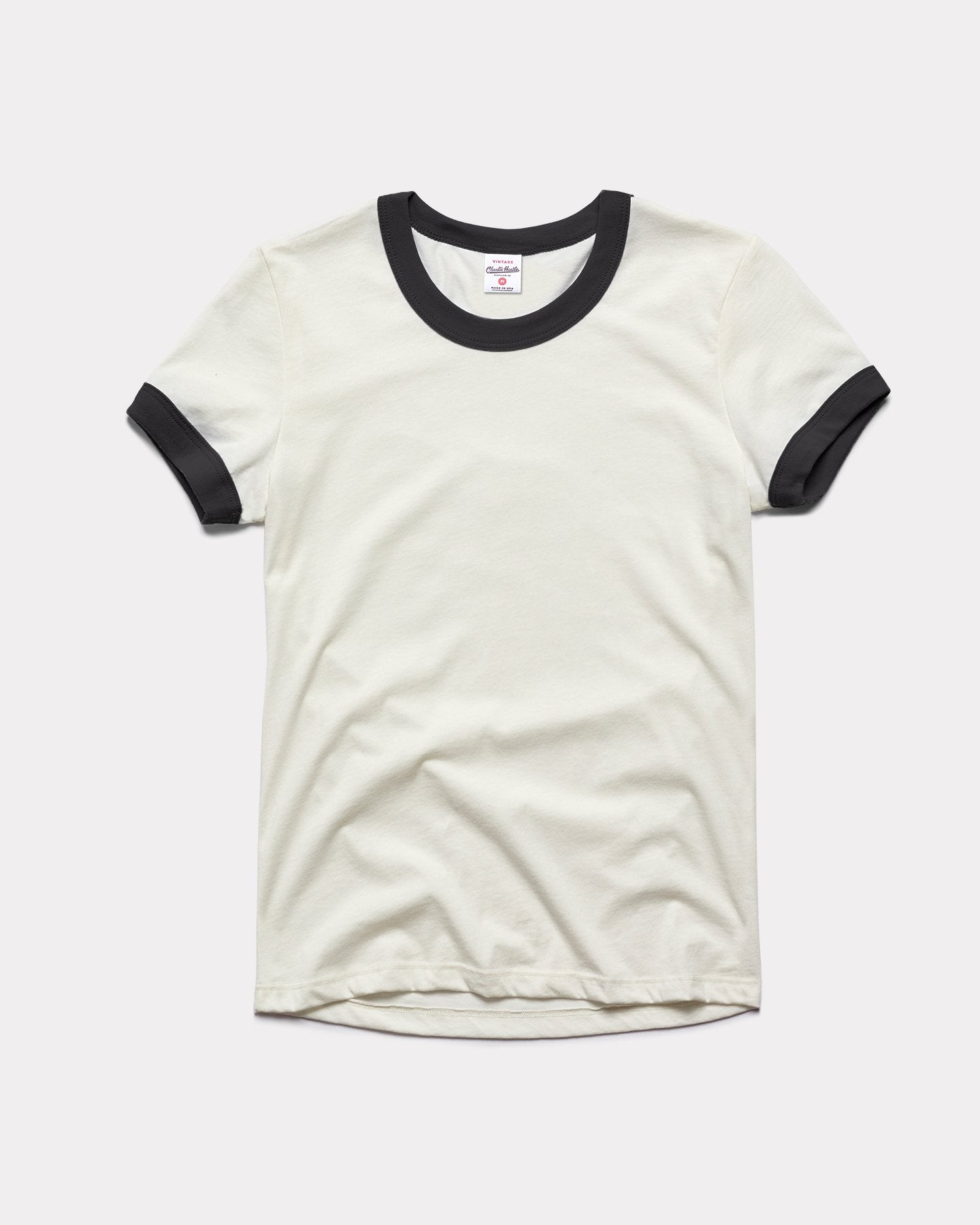 Women's White & Black Essentials Collection Vintage Ringer T-Shirt
