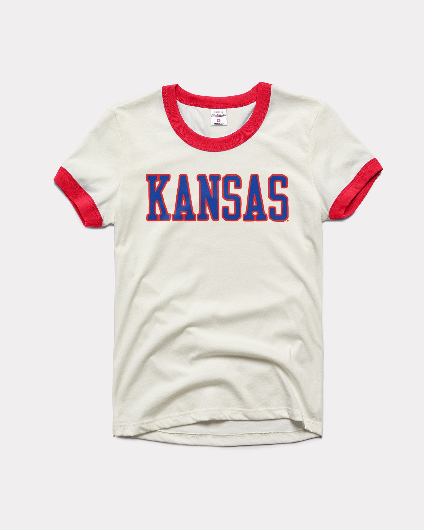 White & Red Kansas Jayhawks Vintage Ringer T-Shirt