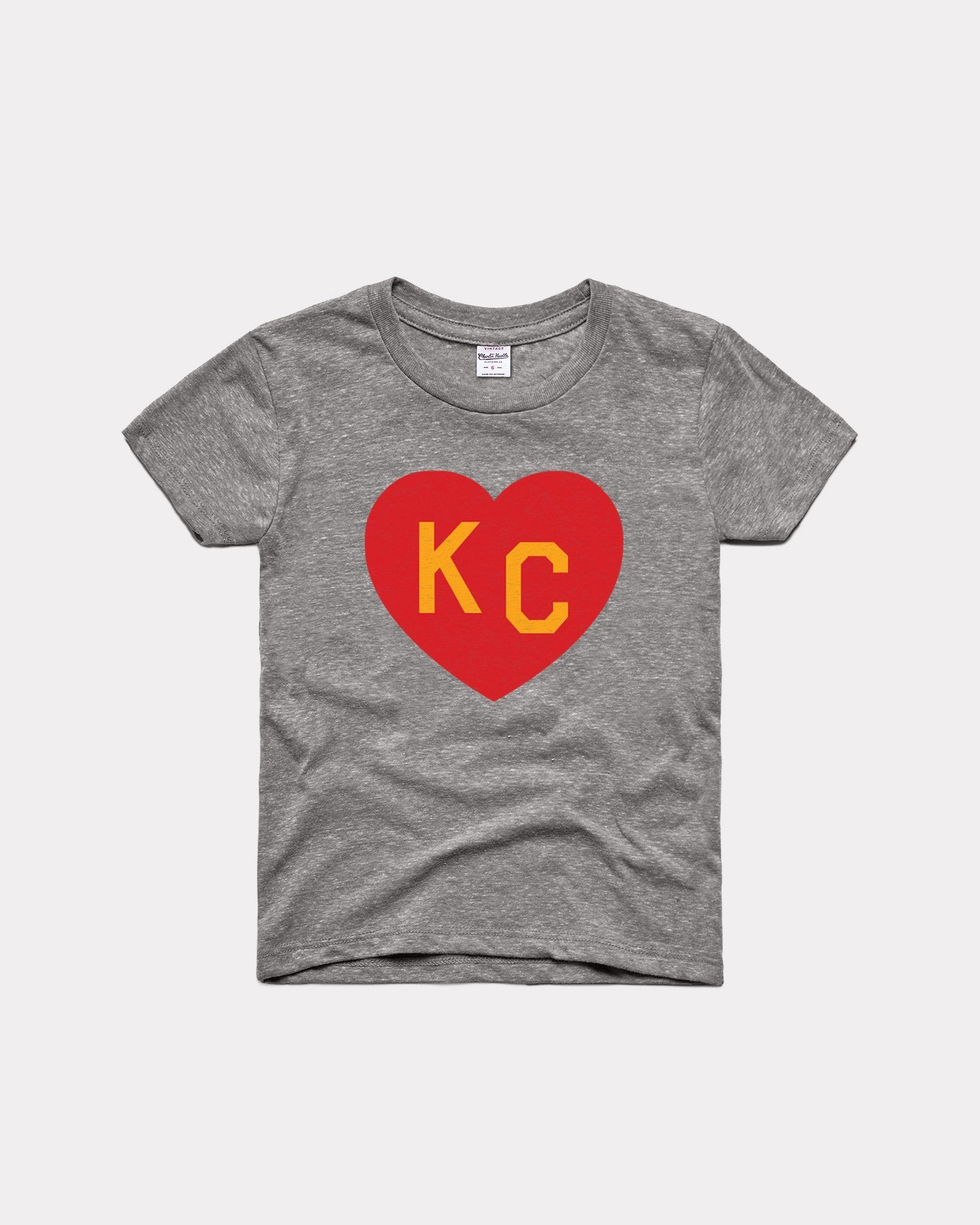 Youth Arrowhead Collection Grey KC Heart Vintage Kids T-Shirt