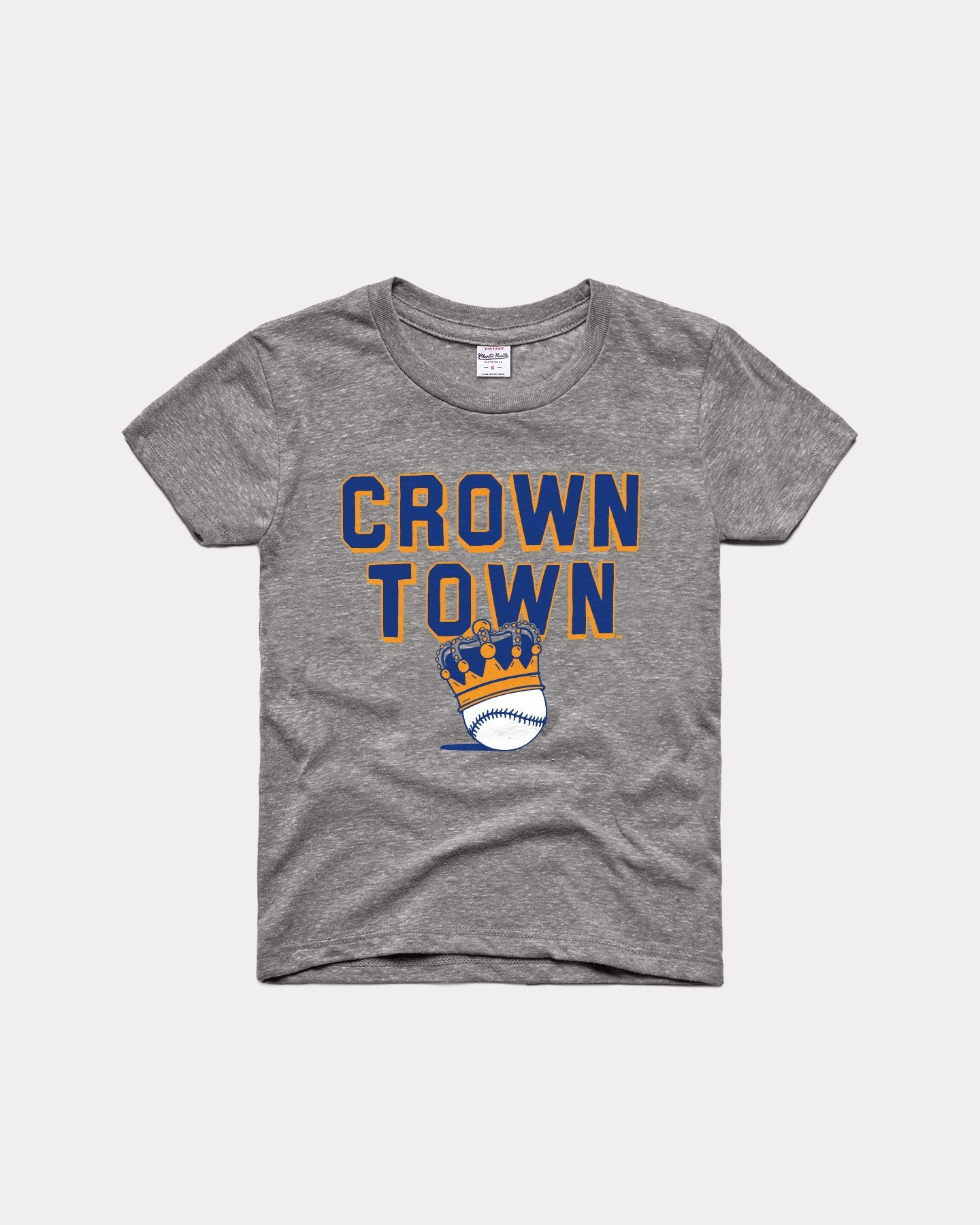 Kids Grey Kansas City Baseball Crown Town Vintage T-Shirt