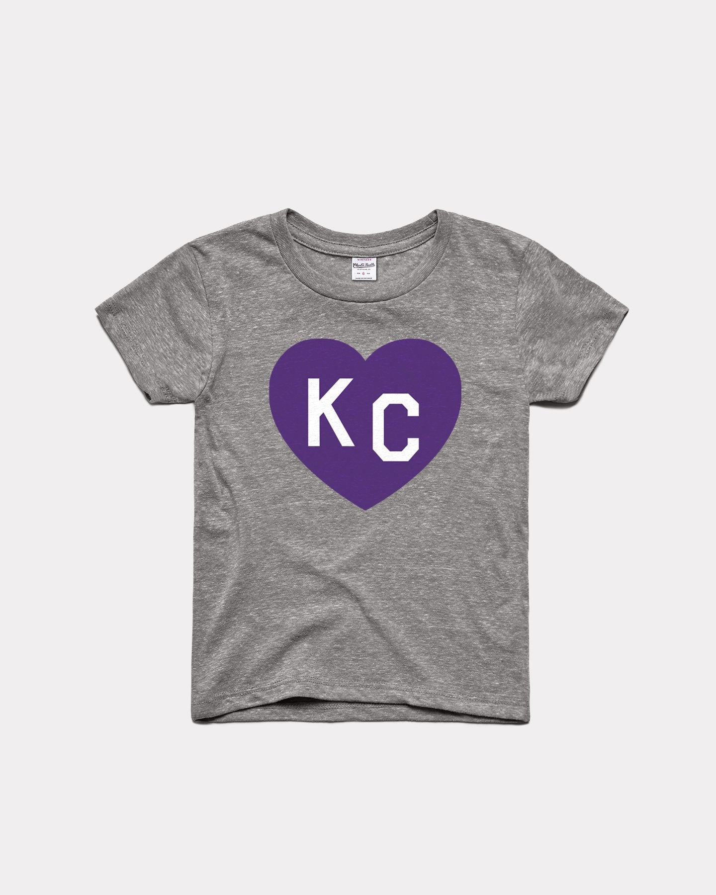 Kids Grey & Purple KC Heart Youth T-Shirt