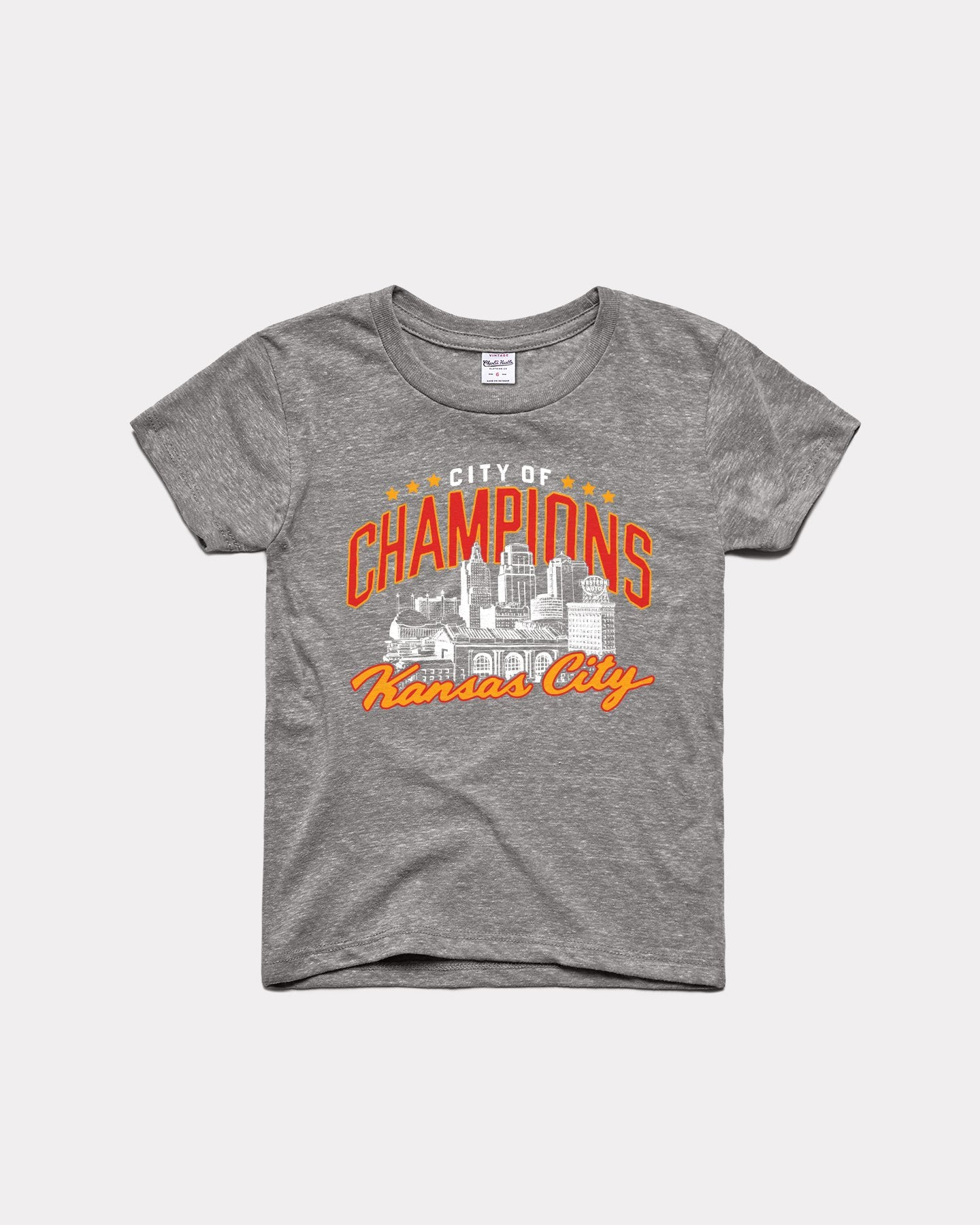 Kids Grey KC City of Champions Vintage Youth T-Shirt