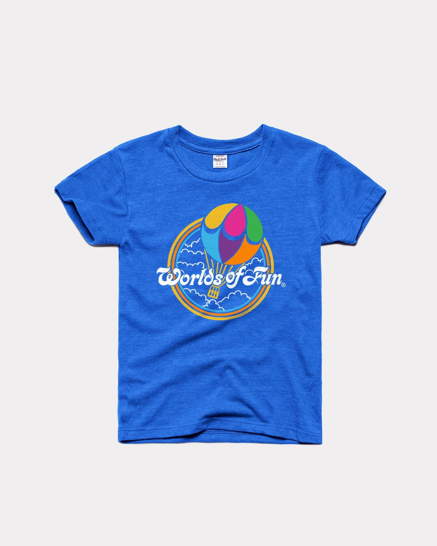 Kids Royal Blue Worlds Of Fun Vintage Balloon Youth T-Shirt