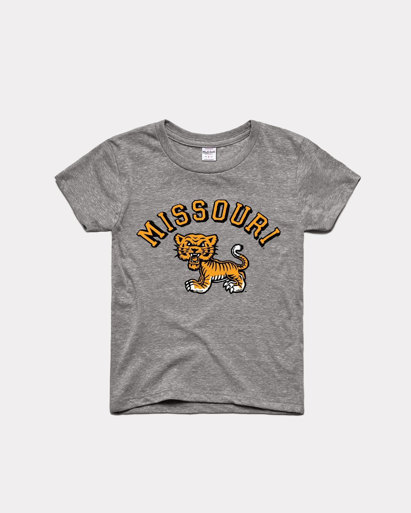 Kids Grey Mizzou Classic Tiger Vintage Youth T-Shirt