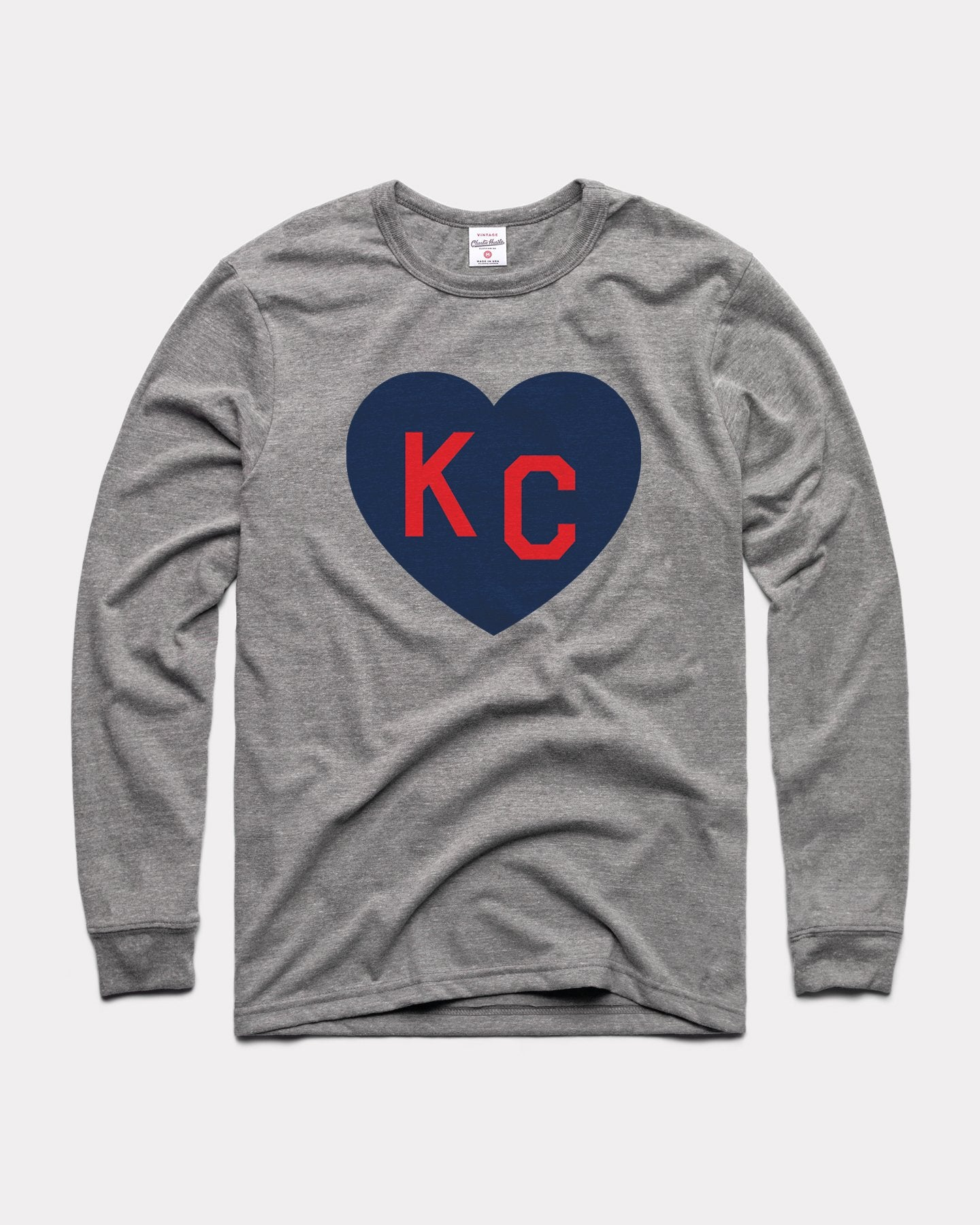 Grey KC Heart Long Sleeve Vintage T-Shirt