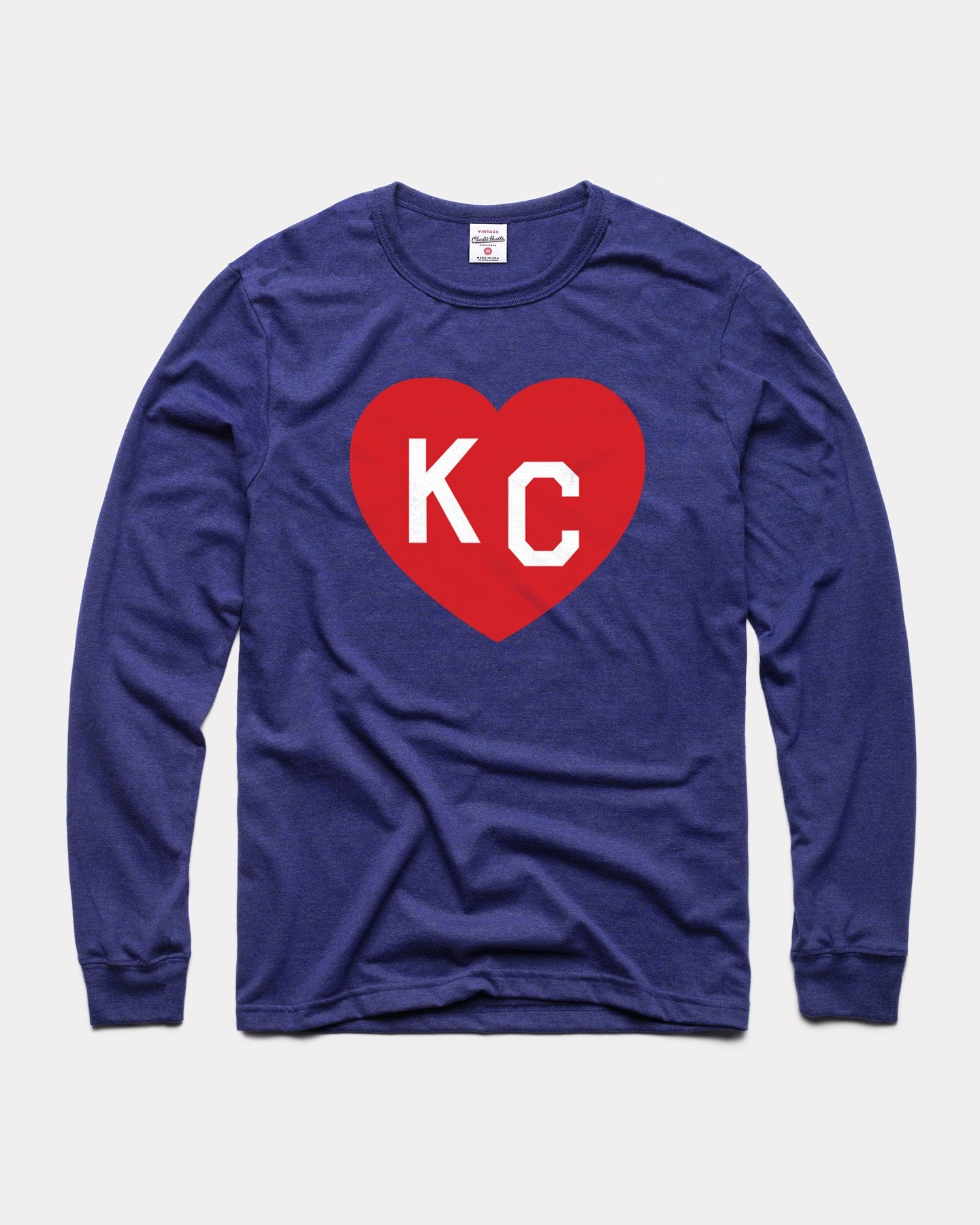 Navy KC Heart Long Sleeve Vintage T-Shirt