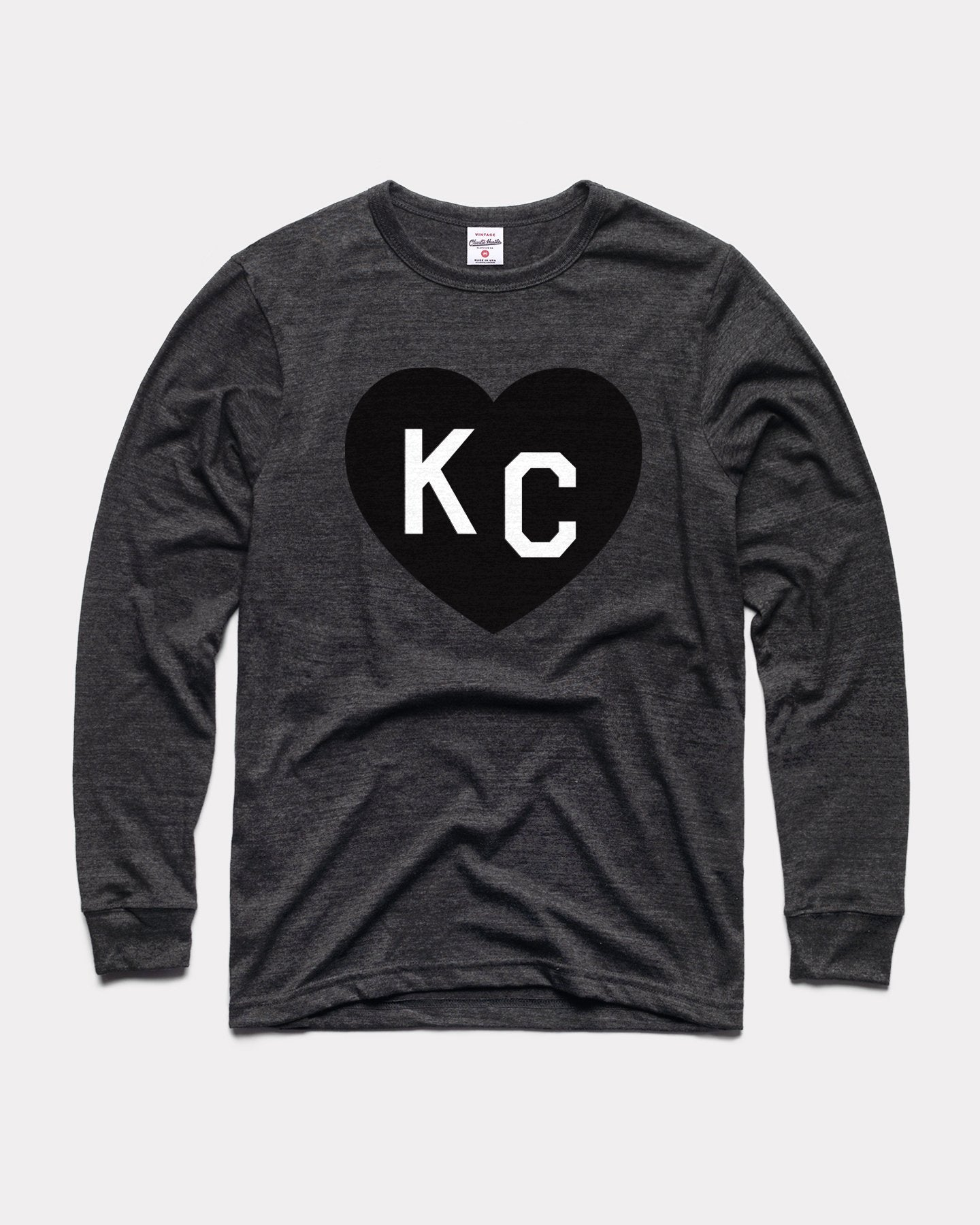 Black KC Heart Long Sleeve Vintage T-Shirt